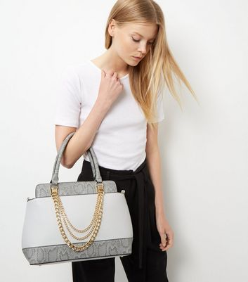 Grey Snakeskin Panel Chain Strap Tote Bag