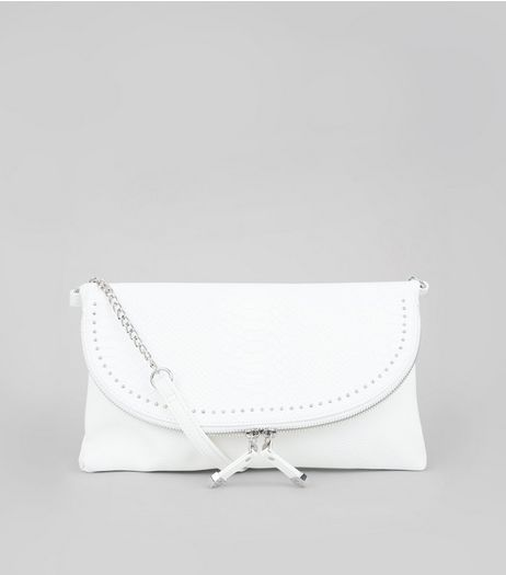 White Studded Zip Clutch Bag | New Look