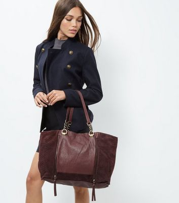 Burgundy Leather Shopper Bag