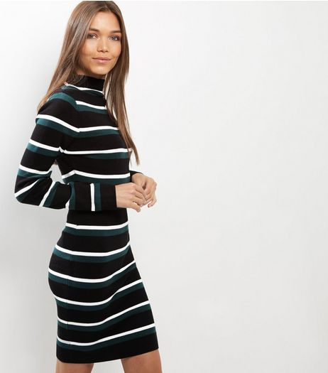 Tall Black Stripe Bodycon Midi Dress | New Look