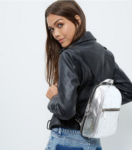 Silver Leather Mini Backpack | New Look