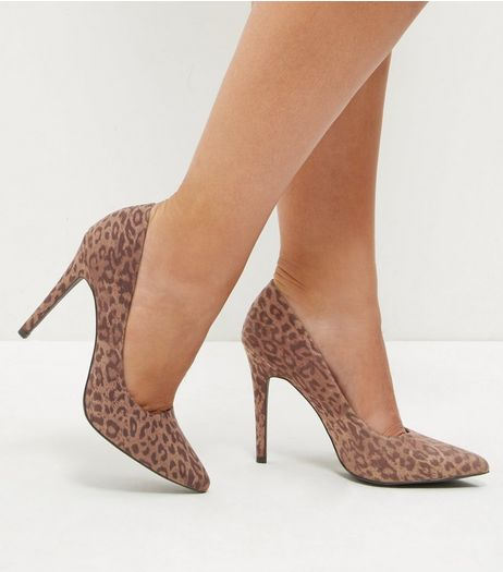 Stone Leopard Print Pointed Court Shoes  | New Look