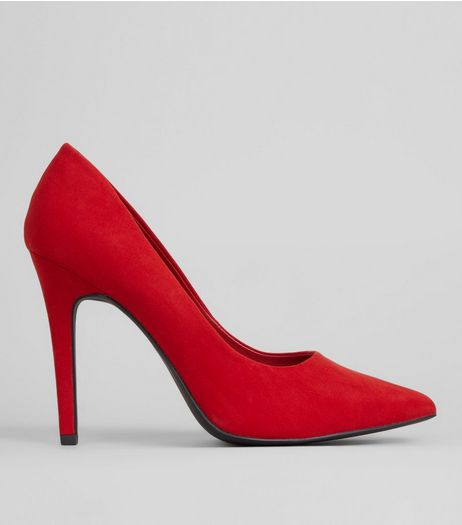 Red Suedette Pointed Court Shoes | New Look