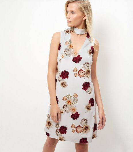 Tall Grey Floral Print Choker Dress  | New Look