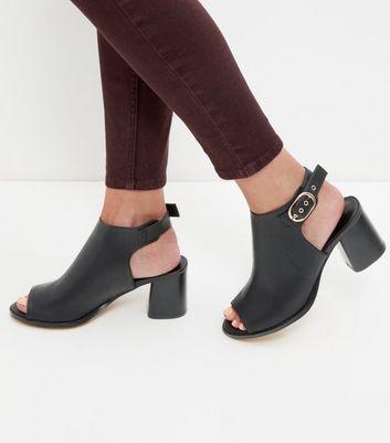 Sandalo  donna Black Leather-Look Peep Toe Buckle Block Heels