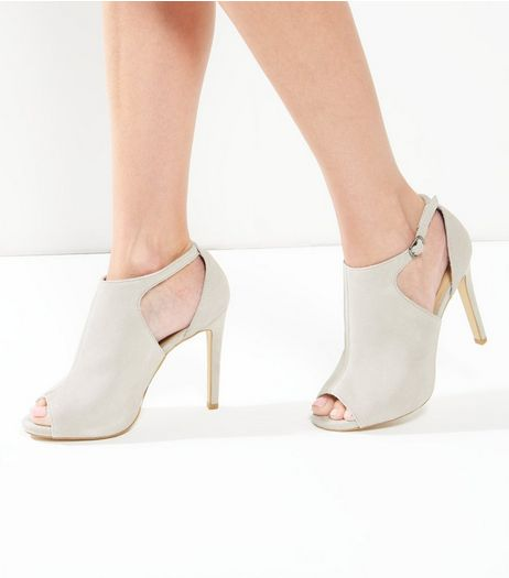 Grey Suede Cut Out Peep Toe Heels | New Look