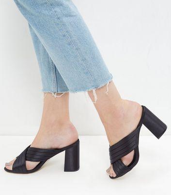 Sandalo  donna Black Cross Strap Heeled Mules