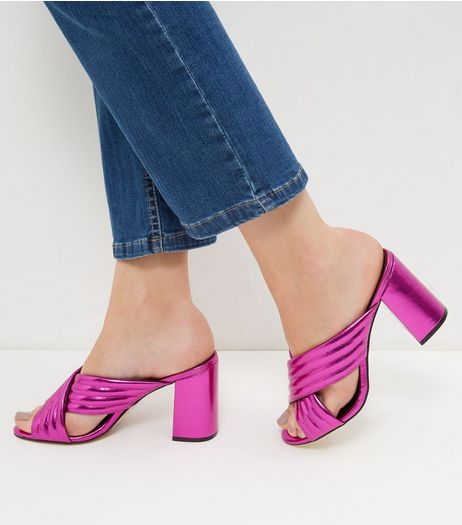 Bright Pink Cross Strap Heeled Mules  | New Look
