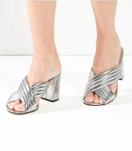 Silver Cross Strap Mules | New Look