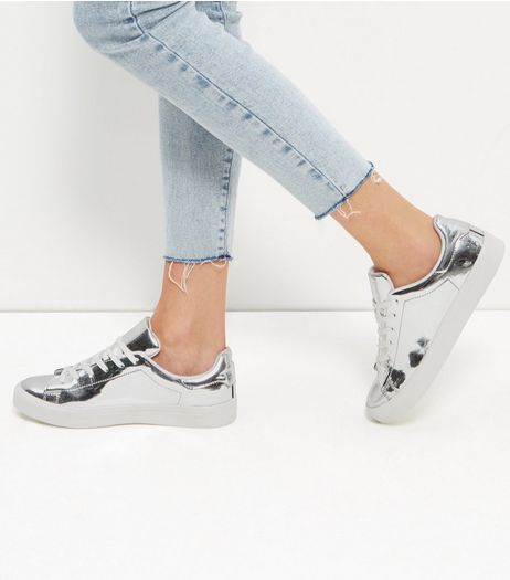 Silver Patent Lace Up Sneakers | New Look