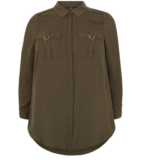 Curves Khaki Pocket Long Sleeve Shirt | New Look