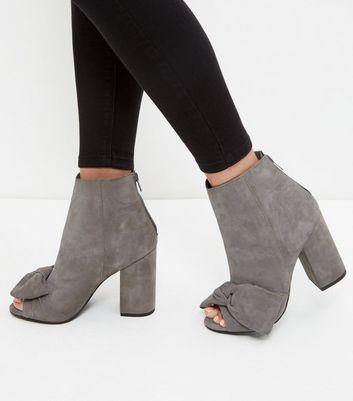 Sandalo  donna Grey Premium Leather Bow Peep Toe Block Heel Boots