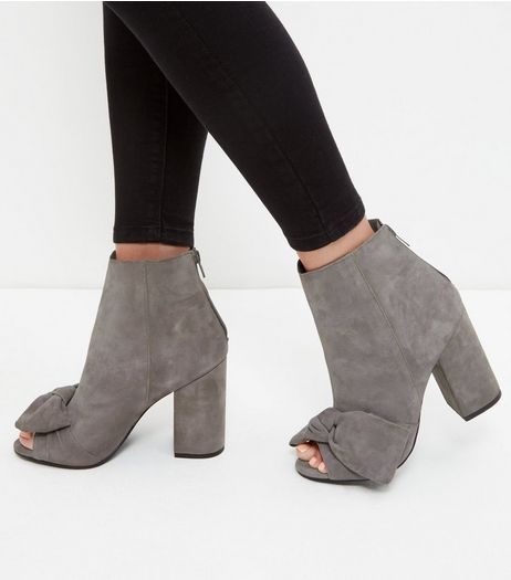 Grey Premium Leather Bow Peep Toe Block Heel Boots  | New Look