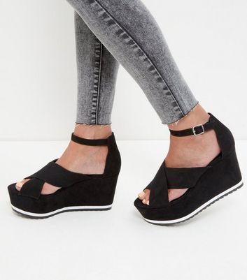 Sandalo  donna Black Ankle Strap Wedge Sandals