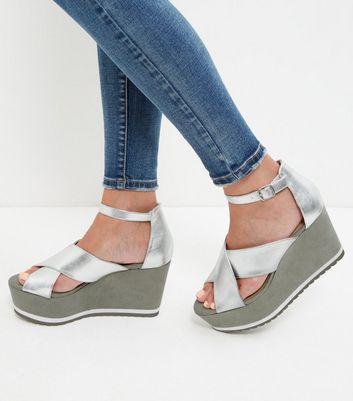 Sandalo  donna Silver Ankle Strap Wedge Sandals
