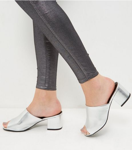 Wide Fit Silver Peep Toe Mules  | New Look