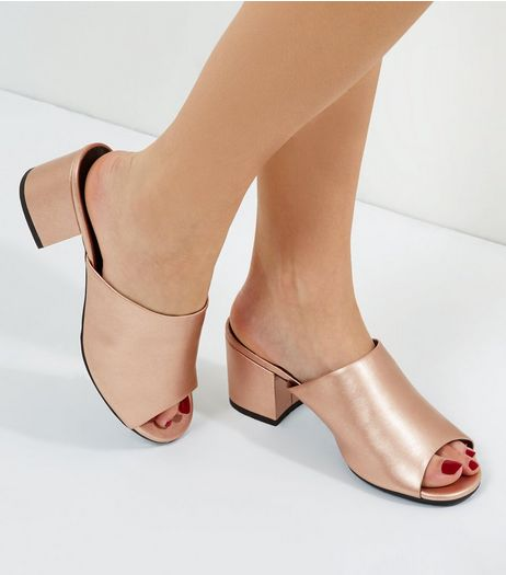 Rose Gold Wide Fit Metallic Block Heel Mules | New Look