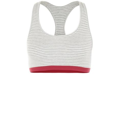 Teens Light Grey Stripe Racer Back Crop Top | New Look