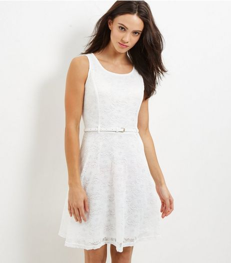 Mela White Lace Belted Skater Dress | New Look