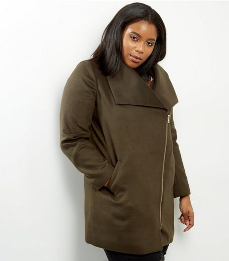 Curves Khaki Military Coat | New Look