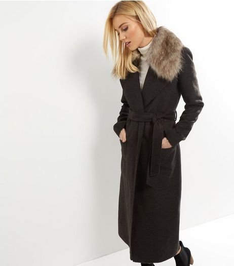 Tall Khaki Faux Fur Collar Belted Longline Coat | New Look