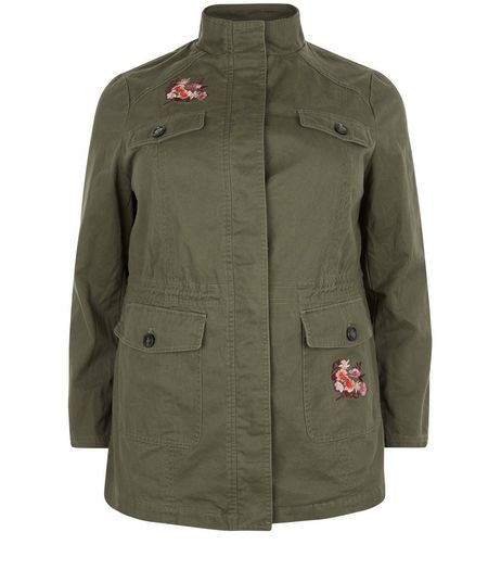 Curves Khaki Tiger Embroidered Shacket | New Look