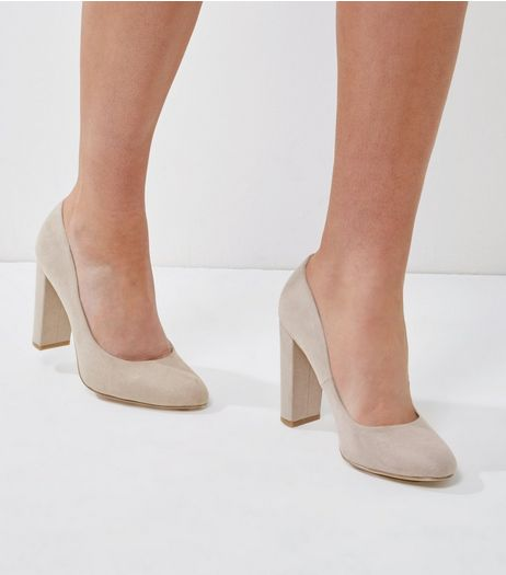 Wide Fit Grey Suedette Block Heels | New Look