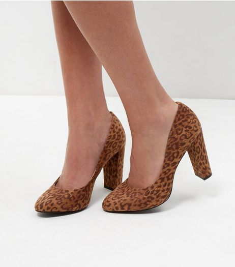 Wide Fit Stone Suedette Leopard Print Block Heels | New Look