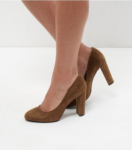 Wide Fit Tan Suedette Block Heels | New Look