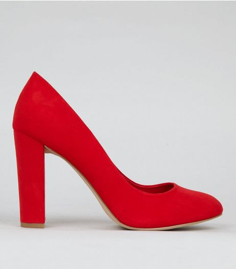 Wide Fit Red Suedette Block Heels | New Look
