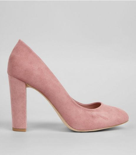 Wide Fit Pink Suedette Block Heels | New Look