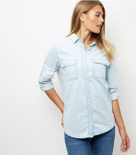 Blue Varsity Denim Shirt | New Look