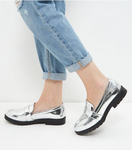 Wide Fit Silver Chunky Loafers | New Look
