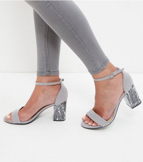 Wide Fit Grey Marble Block Heels | New Look