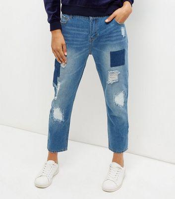Heartbreak Blue Patchwork Boyfriend Jeans