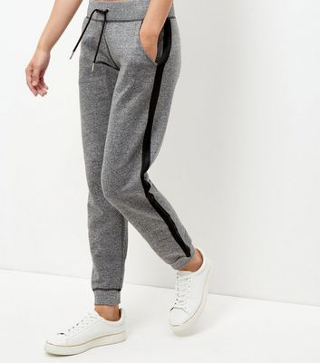 Grey Fine Knit Tape Trim Joggers