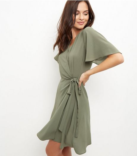 Khaki Tie Side Wrap Front Dress  | New Look