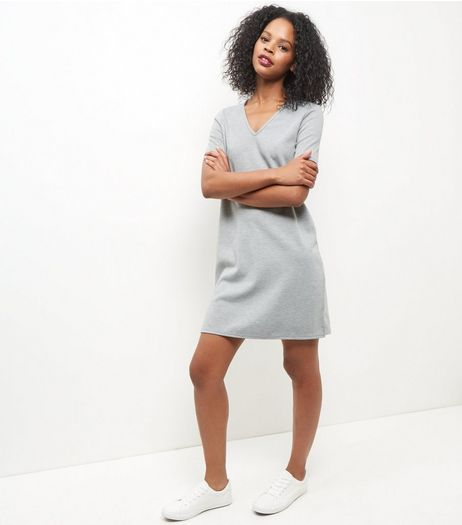 Grey V Neck Tunic Dress  | New Look