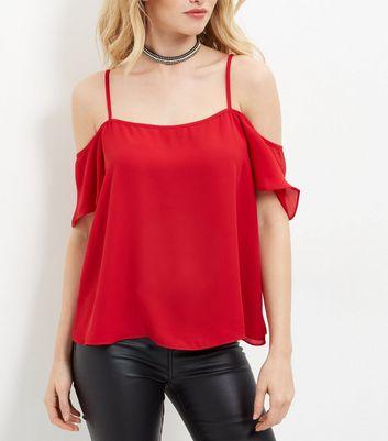 cameo-rose-red-cold-shoulder-split-back-top