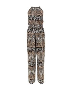 Apricot Light Grey Paisley Print High Neck Jumpsuit | New Look