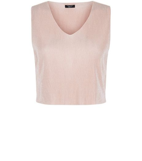 Teens Shell Pink Pleated V Neck Crop Top | New Look