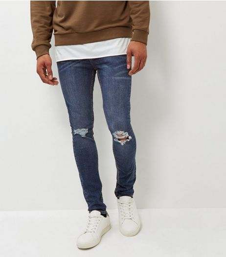 Blue Ripped Knee Super Skinny Jeans | New Look