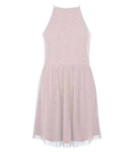 Teens Shell Pink Mesh Pleated Skater Dress | New Look