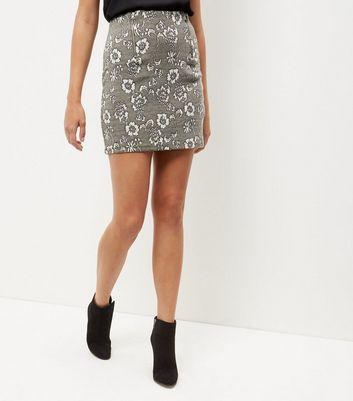 Gonna  donna Green Floral Print Jacquard Texture A-Line Skirt