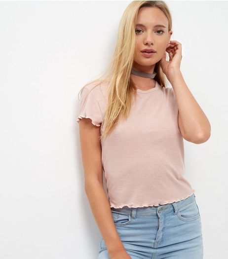 Pink Textured Trim T-Shirt  | New Look