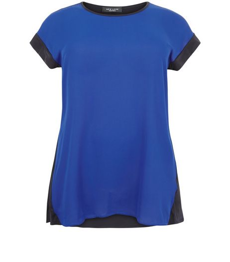Curves Blue Woven Front T-shirt | New Look