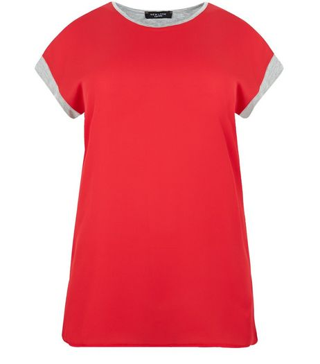 Curves Red Contrast Trim T-Shirt | New Look
