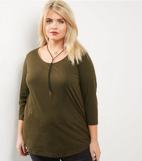 Curves Khaki 3/4 Sleeve Scoop Neck Top | New Look