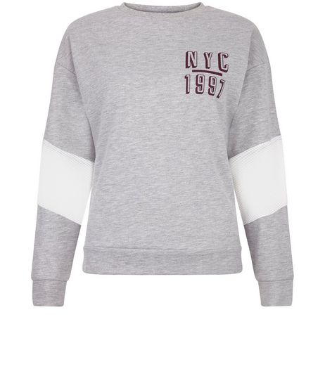 Teens Grey Mesh Sleeve Baseball Sweater | New Look