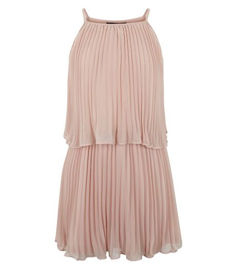 Girls Pink Pleated Chiffon Layered Dress  | New Look